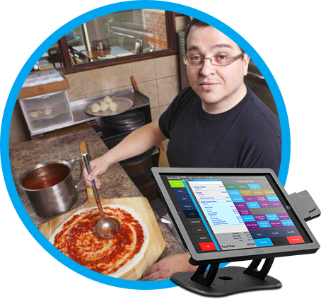 Pizzeria POS option with man making pizza