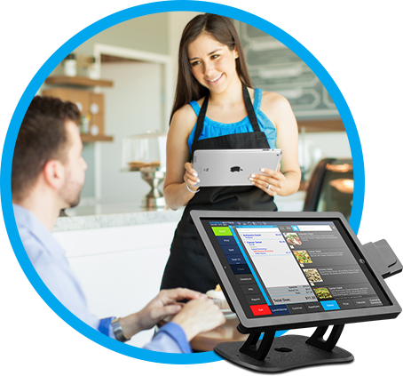 Image of POS option with Woman Serving at a Cafe