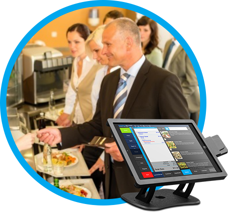 Fast Casual POS option with image of guy paying for cafeteria style meal