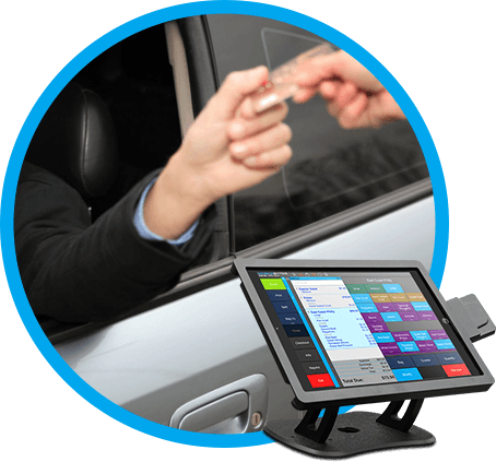 Quick Service POS option with customer handing card out of car window