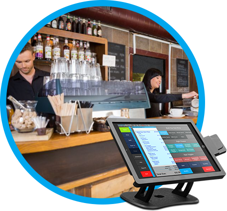 Bar and Nightclub POS option, image of coffee shop counter