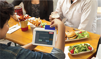 Customer Paying at Restaurant using Tablet POS System